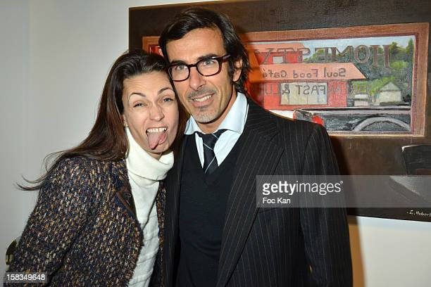 Adeline Blondieau and painter Laurent Hubert attend the 'Amerique Instantanes' Laurent Hubert Painting Exhibition Preview at Galerie Myriane on...