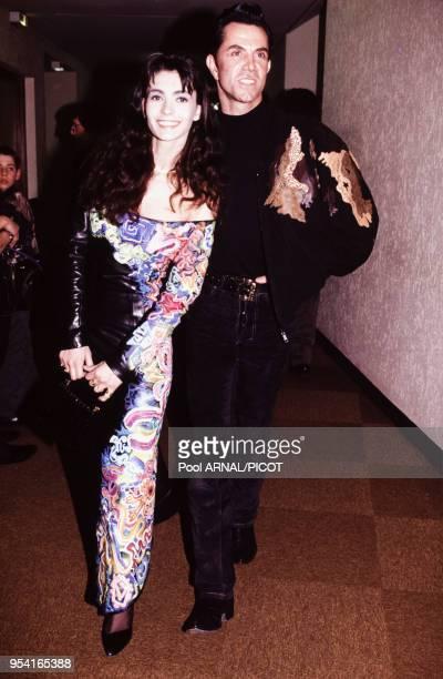 Adeline Blondieau et le couturier JeanClaude Jitrois en janvier 1992 lors d'une soirée à Paris France