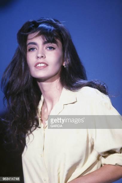 Adeline Blondieau ex Adeline Hallyday lorsd'une émission de télévision en septembre 1991 à Paris France