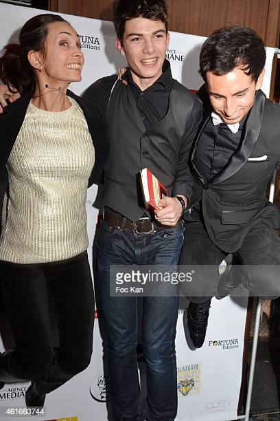 Adeline Blondieau her son Aitor Blondieau and Jordan De Luxe attend 'La Nouvelle Dame Aux Camelias' Renaud Duval Book Launch Party at the Cosy Club...