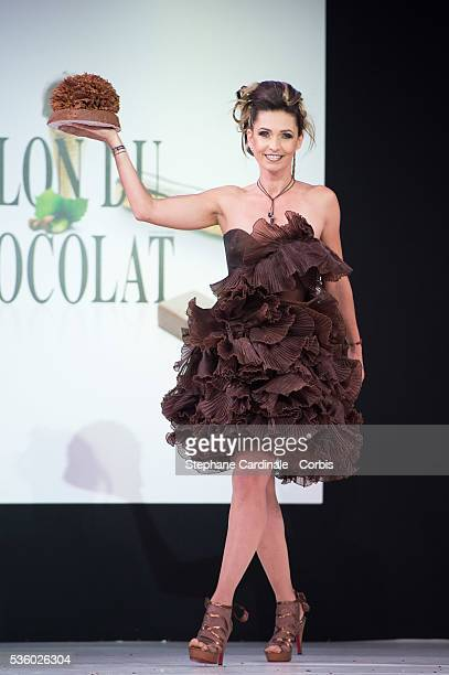 Adeline Blondieau walks the runway during the 'Salon Du Chocolat' Fashion Show on October 29 2014 in Paris France
