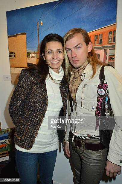 Adeline BlondieauÊand Christophe Guillarme attend the 'Amerique Instantanes' Laurent Hubert Painting Exhibition Preview at Galerie Myriane on...