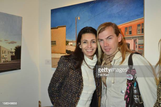 Adeline BlondieauÊand Christophe Guillarme attend the 'Amerique: Instantanes' - Laurent Hubert Painting Exhibition Preview at Galerie Myriane on...