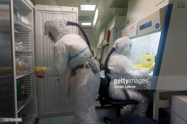 Adeline Danneels CNRS technician and Sandrine Belouzard virologist and researcher at work in highlevel P3 biosafety security laboratory at the...