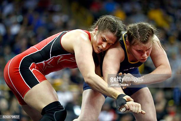 Adeline Gray and Victoria Francis compete during their Women's 75kg championship match on day 2 of the 2016 US Olympic Team Wrestling Trials at...