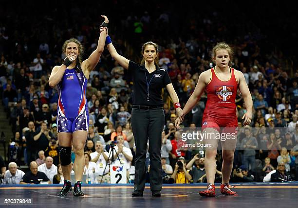 Adeline Gray celebrates after defeating Victoria Francis to win their Women's 75kg championship match on day 2 of the 2016 US Olympic Team Wrestling...