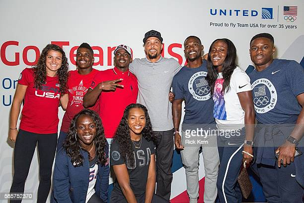 Adeline Gray Marvin Bracy Trayvon Bromell Tony McQuay Christian Coleman Morolake Akinosun Ariana Washington and United Airlines celebrate Team USA as...