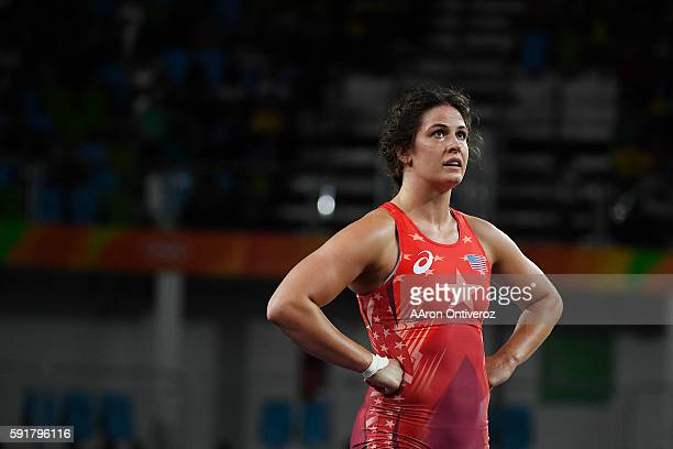 Adeline Gray of the United States reacts to losing 31 to Vasilisa Marzaliuk of Belarus during women's freestyle 75kg wrestling quarterfinals on...