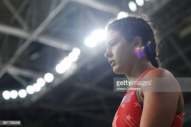 Adeline Gray of the United States walks into the arena for her match against Andrea Olaya of Columbia during women's freestyle wrestling round of 16...