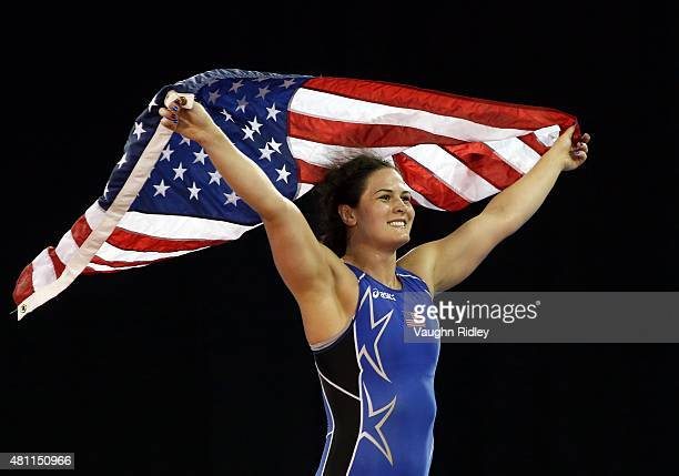 Adeline Gray of the USA celebrates after defeating Justina Distasio of Canada in the Women's 75kg Freestyle Final during the Toronto 2015 Pan Am...