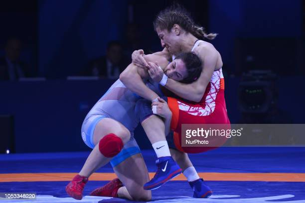 Adeline GRAY of USA against Yasemin ADAR of Turkey a Gold medal fight in women's freestyle wrestling 76kg category at the World Wrestling...