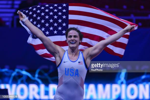 Adeline GRAY of USA calerbrates her win against Yasemin ADAR of Turkey a Gold medal fight in women's freestyle wrestling 76kg category at the World...