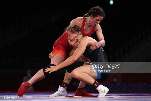 Adeline Maria Gray of Team United States competes against Aline Rotter Focken of Team Germany during the Women's Freestyle 76kg Final on day ten of...