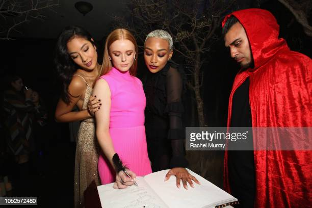 Adeline Rudolph Abigail Cowe and Tati Gabrielle attends Netflix Original Series 'Chilling Adventures of Sabrina' red carpet and premiere event on...