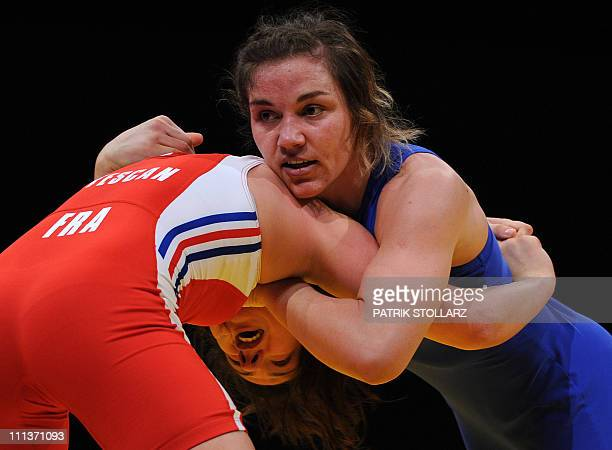 Adeline Vescan from France fights with Ganna Vasylenko from Ukraine in the final for the third place of the European Wrestling Championship 59 kg...