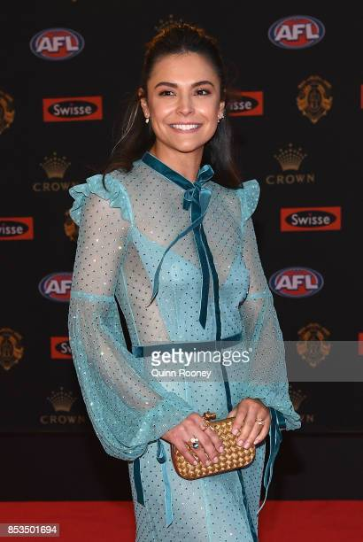 Adelle Bougis partner of Joe Daniher of the Bombers arrives ahead of the 2017 Brownlow Medal at Crown Entertainment Complex on September 25 2017 in...