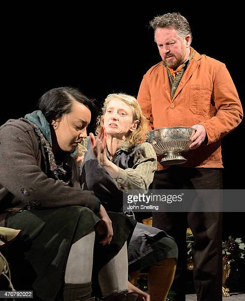 Adelle Leonce as Hoskins Amanda Lawrence as Claxtons Wife and Joe Caffrey as Claxton perform during a dress rehearsal for Light Shining In...
