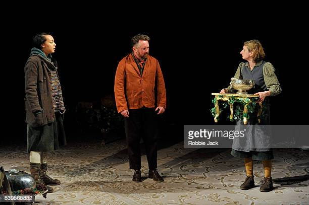 Adelle Leonce as Hoskins Joe Caffrey as Claxton and Amanda Lawrence as Claxton's wife in the National Theatre's production of Caryl Churchill's Light...