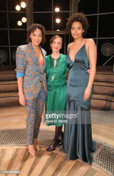 Adelle Leonce Nadia Albina and Amanda Wilkin attend the press night after party for 'Emilia' at The Vaudeville Theatre on March 21 2019 in London...