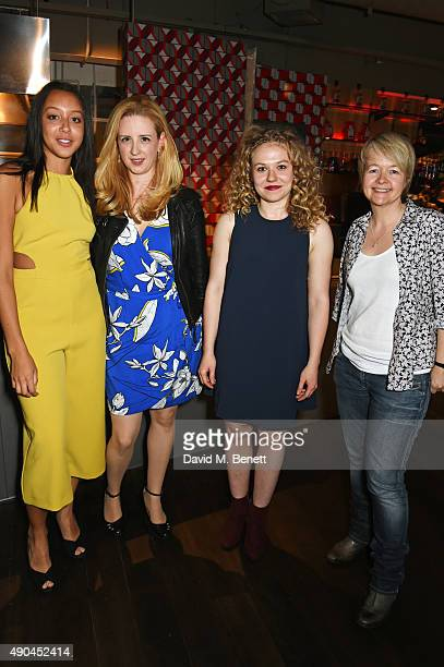 Adelle Leonce playwright Laura Wade Sally Messham and author Sarah Waters attend the press night after party for Tipping The Velvet at The Lyric...