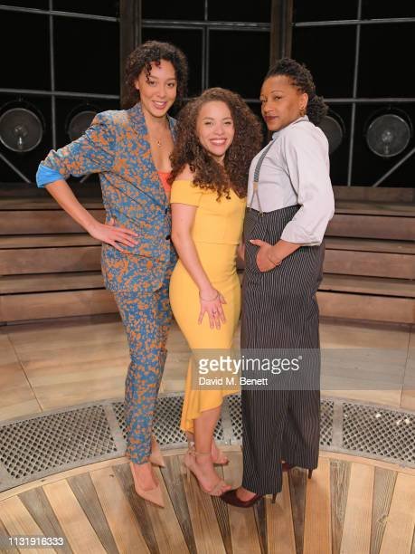 Adelle Leonce Saffron Coomber and Clare Perkins attend the press night after party for Emilia at The Vaudeville Theatre on March 21 2019 in London...