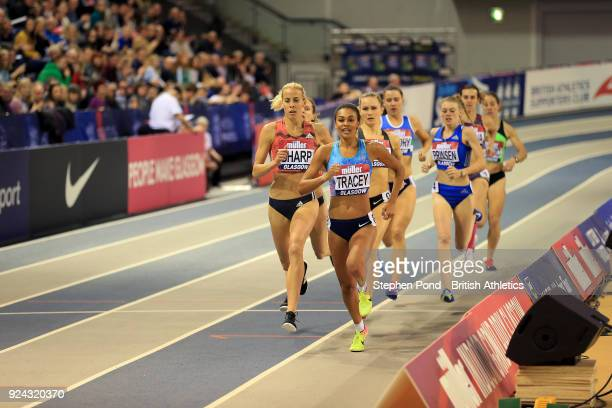 Adelle Tracey and Lynsey Sharp of Great Britain compete in the womens 800m final during the Muller Indoor Grand Prix event on the IAAF World Indoor...