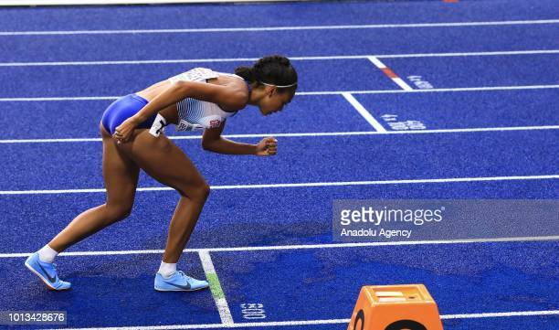 Adelle Tracey of England competes during the women's 800m semi final race during the third day of the 2018 European Athletics Championships in Berlin...