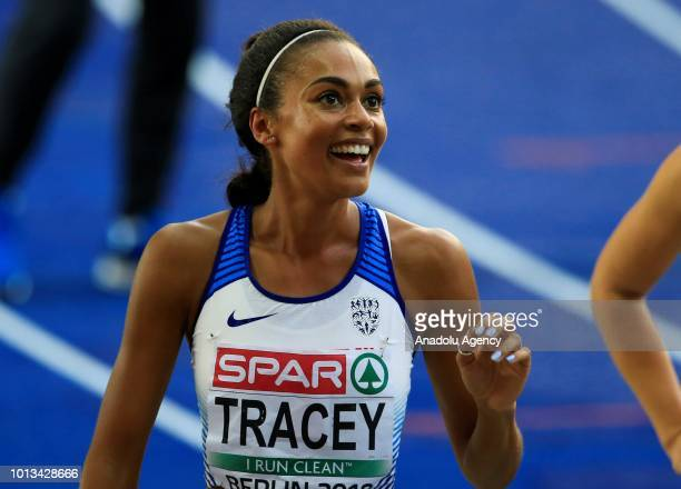 Adelle Tracey of England reacts after competing during the women's 800m semi final race during the third day of the 2018 European Athletics...