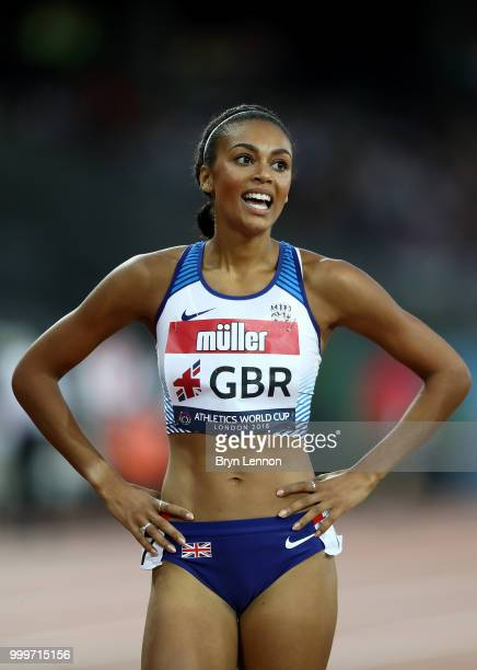 Adelle Tracey of Great Britain after competing in the Women's 800m during day two of the Athletics World Cup London at the London Stadium on July 15...