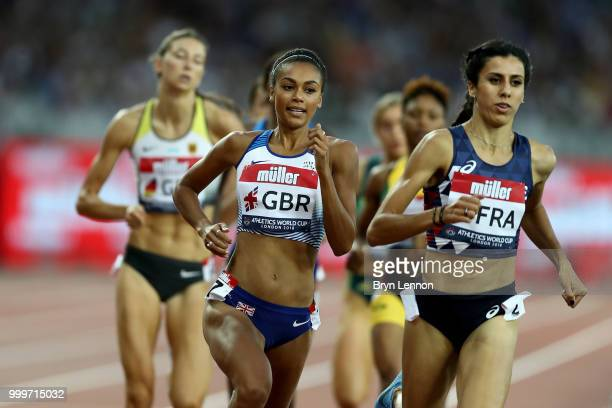 Adelle Tracey of Great Britain competes in the Women's 800m during day two of the Athletics World Cup London at the London Stadium on July 15 2018 in...