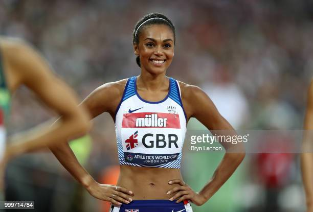 Adelle Tracey of Great Britain prepares to compete in the Women's 800m during day two of the Athletics World Cup London at the London Stadium on July...