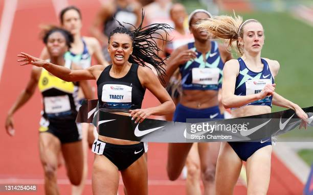 Adelle Tracey of Great Britain wins the 800 meter final during the USATF Grand Prix at Hayward Field on April 24, 2021 in Eugene, Oregon.