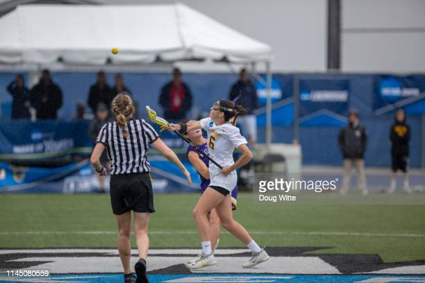 Adelphis Chelsea Abreu fights for the control during the Division II Women's Lacrosse Championship against West Chester held at the GVSU Lacrosse...