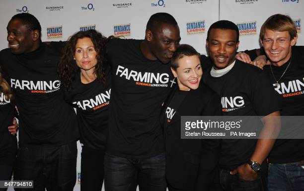 Adelwale AkinnuoyeAgbaje with Minnie Driver and members of the cast attend a photocall for the launch of the film 'Farming' at the Sundance Film...