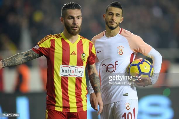 Adem Buyuk of Malatyaspor, Younes Belhanda of Galatasaray during the Turkish Super lig match between Malatyaspor v Galatasaray at the Malatya Arena...