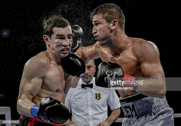 Adem Kilicci of Turkey fights with Artem Cheboratev of Russia in the Welter 69kg class of International Boxing Association in Istanbul Turkey on...