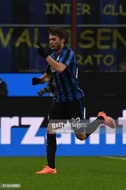 Adem Ljaijc of Inter celebrates after scoring the opening goal during the Serie A match between FC Internazionale Milano and US Citta di Palermo at...