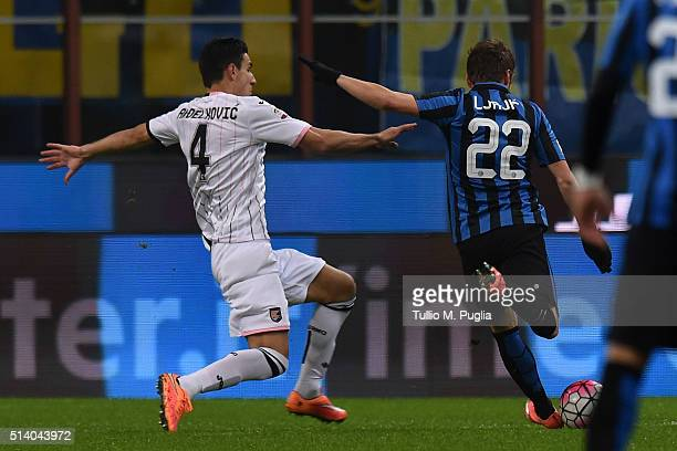 Adem Ljaijc of Inter scores the opening goal during the Serie A match between FC Internazionale Milano and US Citta di Palermo at Stadio Giuseppe...