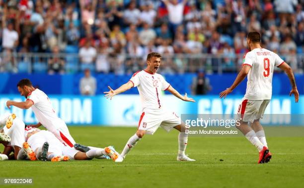 Adem Ljajic and Aleksandar Mitrovic of Serbia celebrates after team mate Aleksandar Kolarov scoreshis team's first goal the 2018 FIFA World Cup...