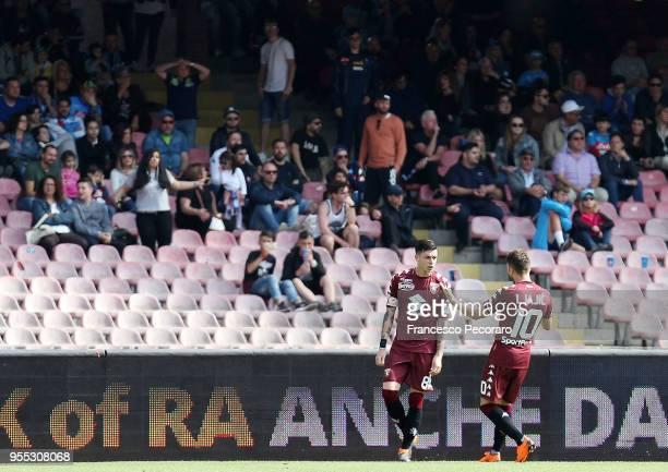 Adem Ljajic and Daniele Baselli of Torino FC celebrate the 11 goal scored by Daniele Baselli during the serie A match between SSC Napoli and Torino...