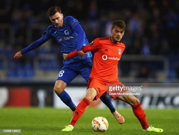 Adem Ljajic of Besiktas and Bryan Heynen of KRC Genk battle for the ball during the UEFA Europa League Group I match between KRC Genk and Besiktas at...