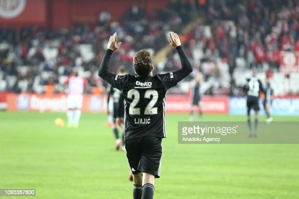 Adem Ljajic of Besiktas celebrates after scoring a goal during Turkish Super Lig week 20 soccer match between Antalyaspor and Besiktas at Antalya...
