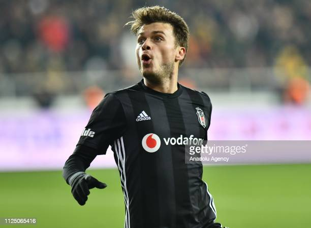 Adem Ljajic of Besiktas celebrates after scoring a goal during Turkish Super Lig soccer match between Evkur Yeni Malatyaspor and Besiktas at Yeni...