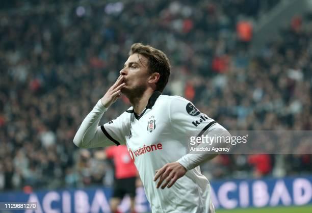 Adem Ljajic of Besiktas celebrates after scoring a goal during Turkish Super Lig soccer match between Besiktas and Atiker Konyaspor at Vodafone Park...