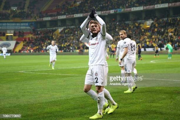 Adem Ljajic of Besiktas celebrates after scoring during a Turkish Super Lig soccer match between MKE Ankaragucu and Besiktas at Kadir Has Stadium in...