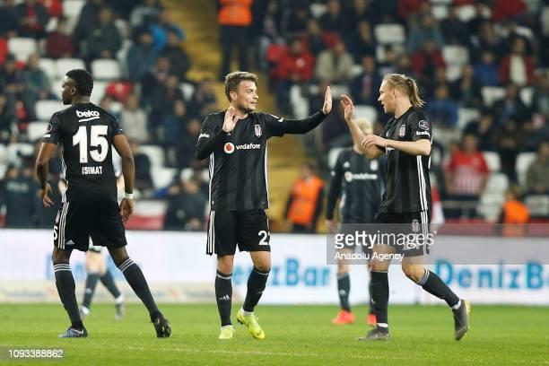 Adem Ljajic of Besiktas celebrates with his teammate Domagoj Vida after scoring a goal during Turkish Super Lig week 20 soccer match between...