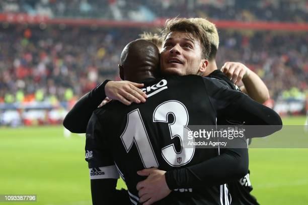 Adem Ljajic of Besiktas celebrates with his teammates after scoring a goal during Turkish Super Lig week 20 soccer match between Antalyaspor and...