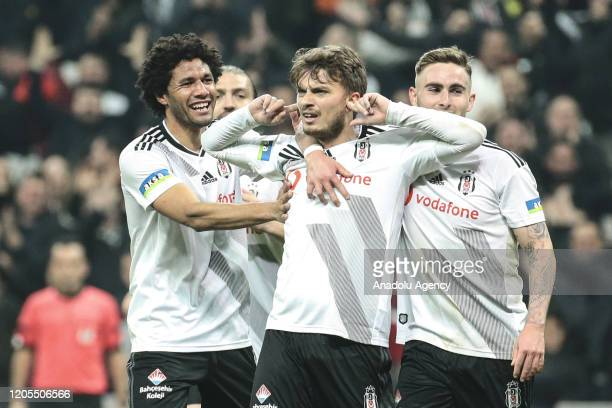 Adem Ljajic of Besiktas celebrates with team mates after scoring a goal during the Turkish Super Lig week 25 soccer match between Besiktas and MKE...