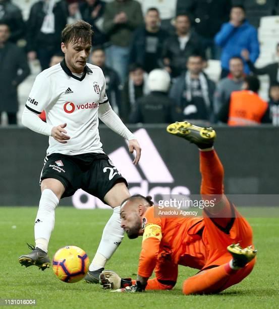 Adem Ljajic of Besiktas in action against Beto of Goztepe during Turkish Super Lig soccer match between Besiktas and Goztepe at Vodafone Park in...