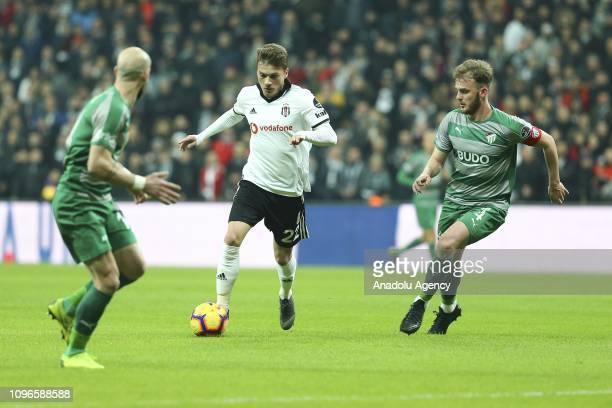 Adem Ljajic of Besiktas in action against Ertugrul Ersoy and Iasmin Latovlevici of Bursaspor during Turkish Super Lig match between Besiktas and...
